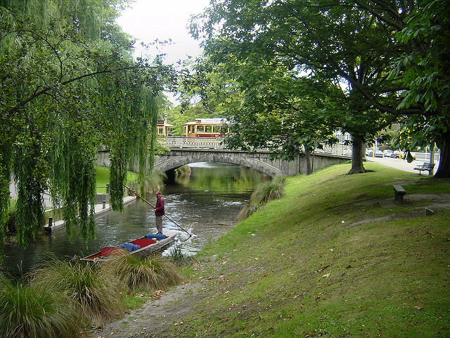 Punting on the River Avon, Christchurch, New Zealand