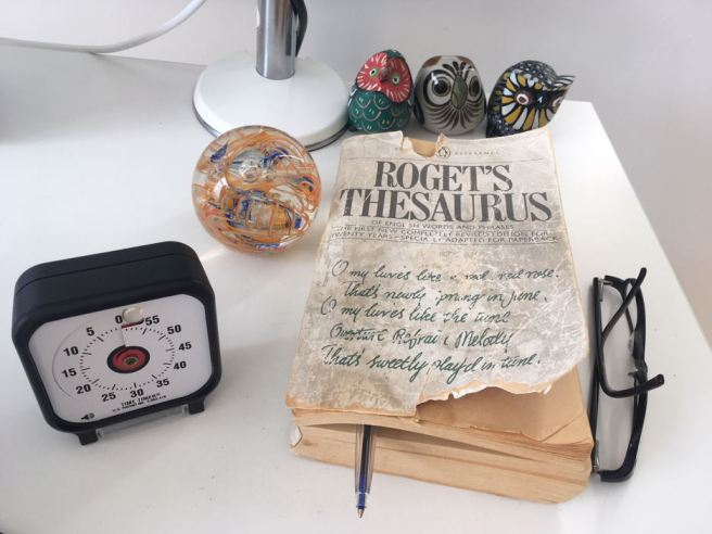 Thesaurus 1982 edition with glasses, Time Timer, paperweight and three owls