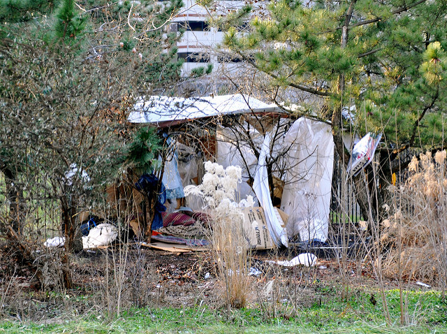 Homeless person's shanty, Philadelphia. Photo Kevin Burkett cc by-sa 2.0
